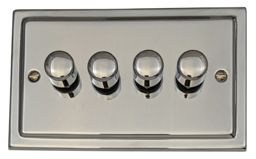 G&H TC14 Trimline Plate Polished Chrome 4 Gang 1 or 2 Way 40-400W Dimmer Switch